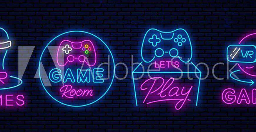 Neon VR Game Logo Templates gamer video