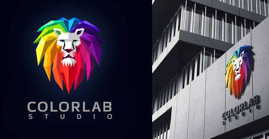 Low Poly Colorful Lion Mascot geometric logo template