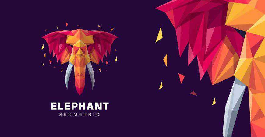 Elephant Poly Colorful geometric logo template