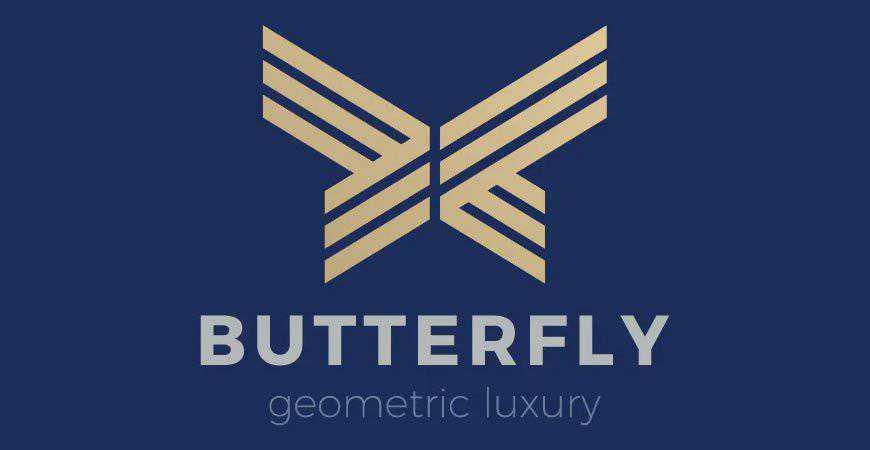 Butterfly geometric logo template