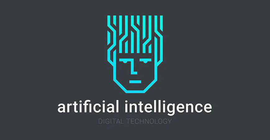 Abstract Artificial Intelligence Face geometric logo template