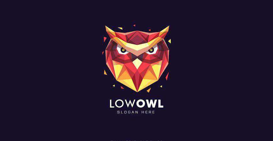 Owl Head Poly Colorful geometric logo template