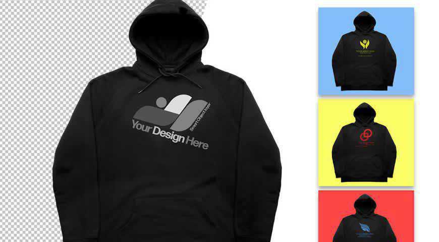 Black Hoodie Photoshop PSD Mockup Template