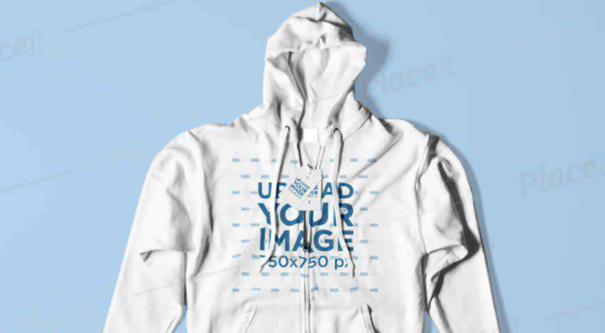 Flat-Laid Hoodie and Label Photoshop PSD Mockup Template