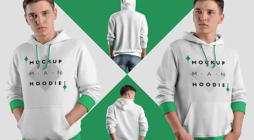 Hoodie with Rolled Up Sleeve Photoshop PSD Mockup Template