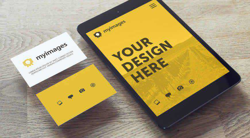 Tablet and Business Cards on Wooden Table Photoshop PSD Mockup Template