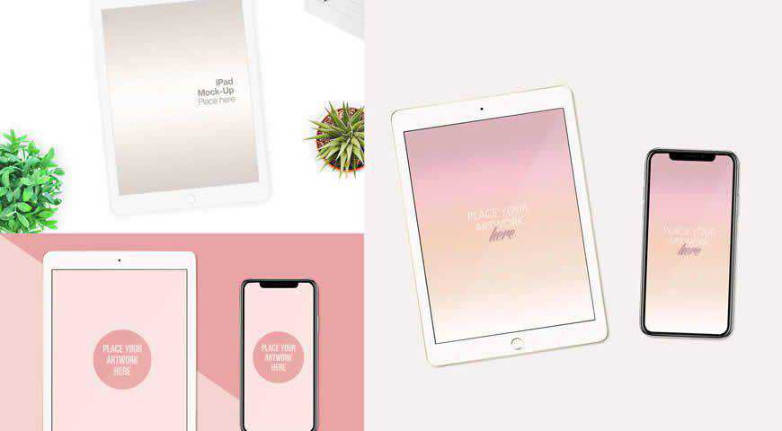 iPad and iPhone Photoshop PSD Mockup Template