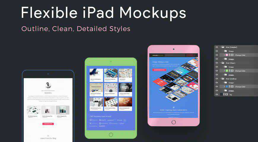 Flexible iPad Mockup Templates Detailed Clean Outline Photoshop PSD Mockup Template