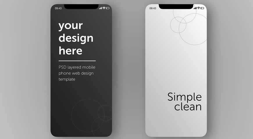 Smartphone Screens Photoshop PSD Mockup Template