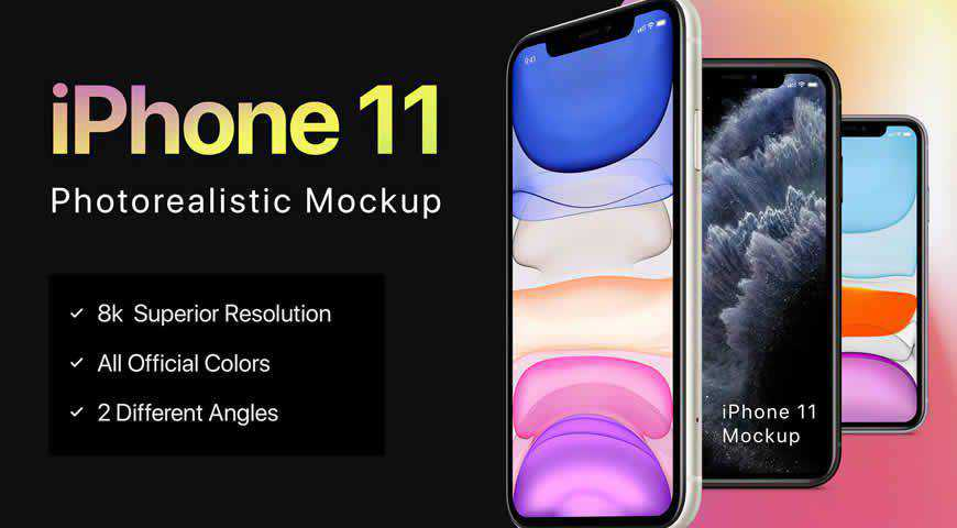 iPhone 11 Photoshop PSD Mockup Template