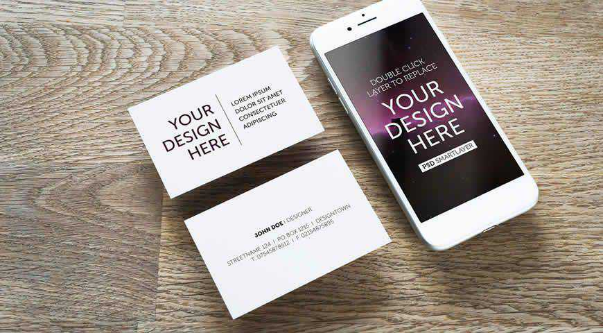 Smartphone and Business Cards on Wooden Table Photoshop PSD Mockup Template