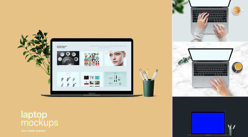 Clean Laptop Photoshop PSD Mockup Template