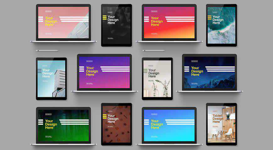 Laptop Tablet Grid Photoshop PSD Mockup Template