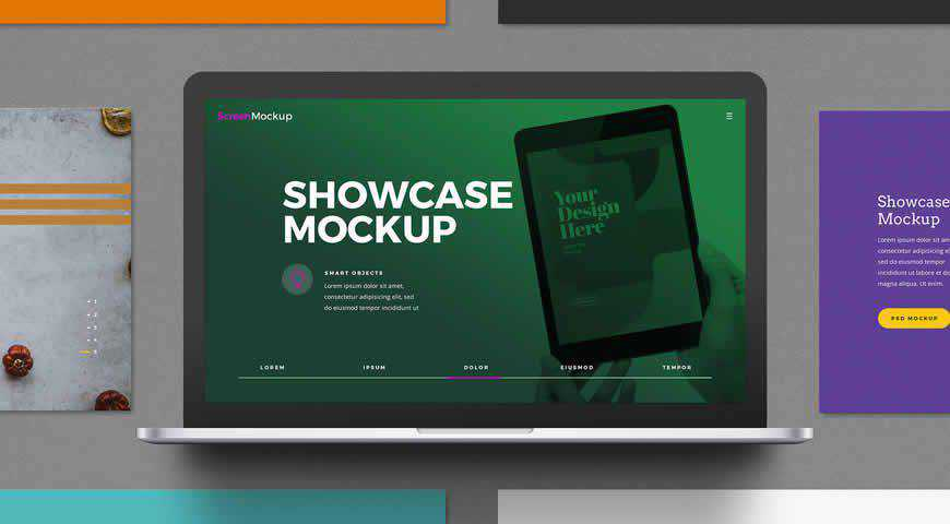 Laptop Presentation Showcase Photoshop PSD Mockup Template