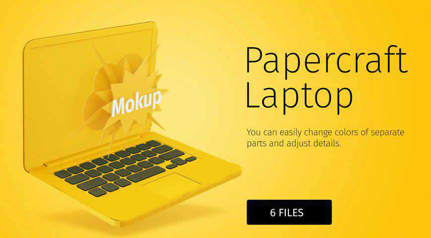 Papercraft Laptop DIY Photoshop PSD Mockup Template
