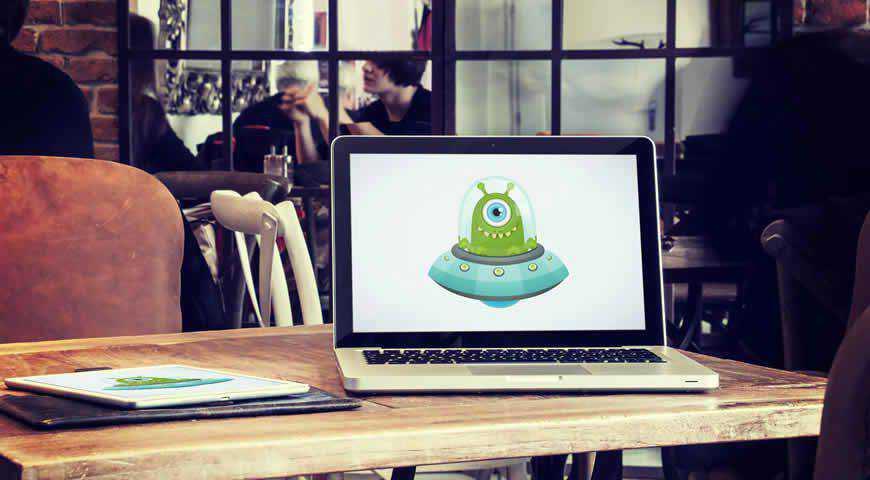 Laptop Tablet Cafe Photoshop PSD Mockup Template