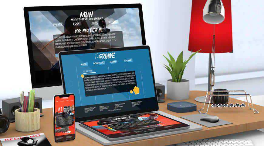 Responsive Website Desk Photoshop PSD Mockup Template