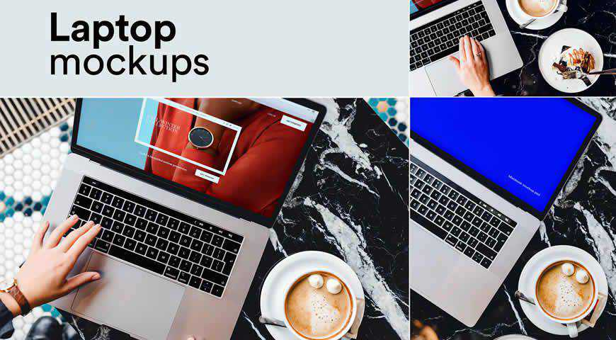 Coffee Laptop Photoshop PSD Mockup Template