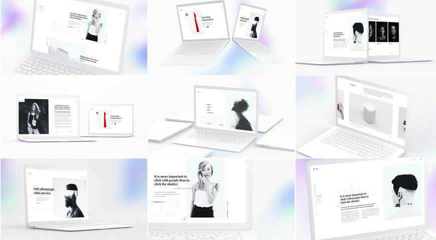 White Laptop Photoshop PSD Mockup Template