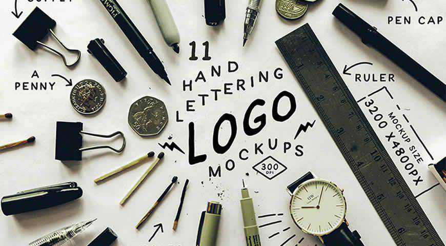 Hand Lettering Logo Photoshop PSD Mockup Template