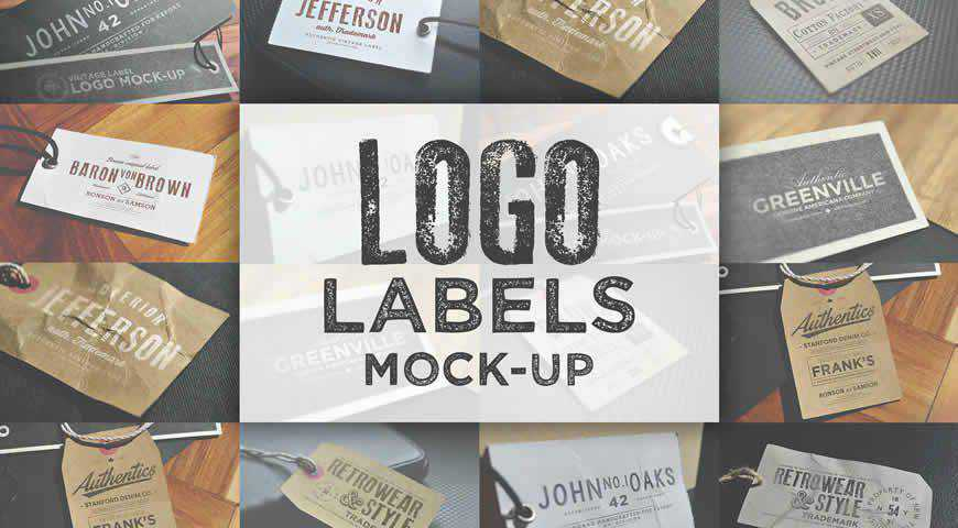 Logo Labels Photoshop PSD Mockup Template