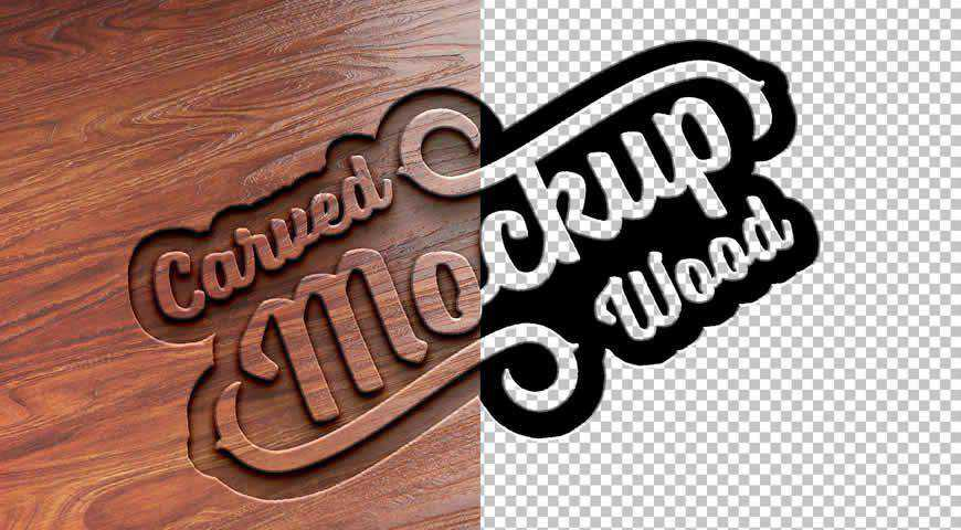 Carved Wood Text Effect Photoshop PSD Mockup Template