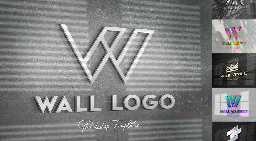 Wall Text or Logo Photoshop PSD Mockup Template