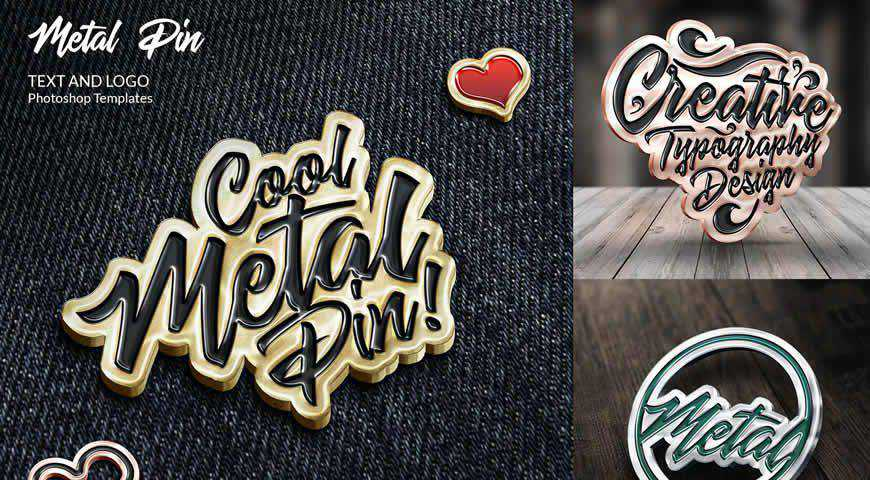Metal Pin Logo Photoshop PSD Mockup Template