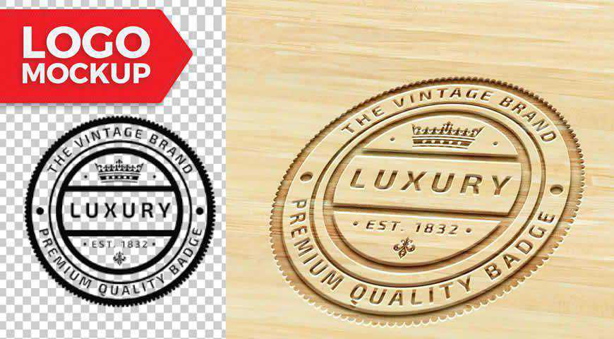 Wood Logo Photoshop PSD Mockup Template