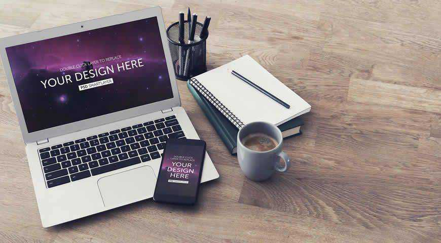 Laptop and Smartphone Photoshop PSD Mockup Template