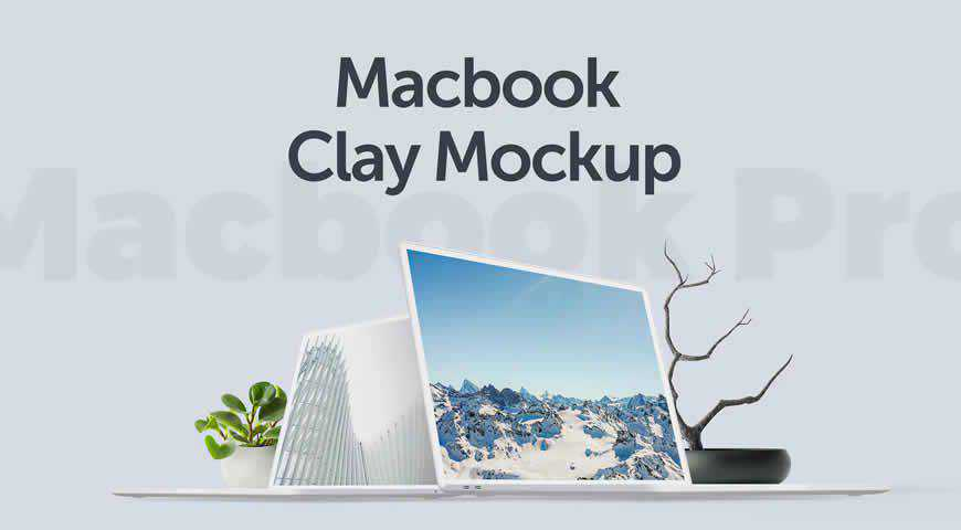 Macbook Clay Photoshop PSD Mockup Template