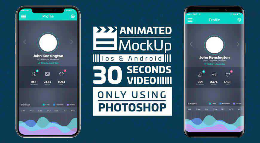 Mobile App Promotion Photoshop PSD Mockup Template