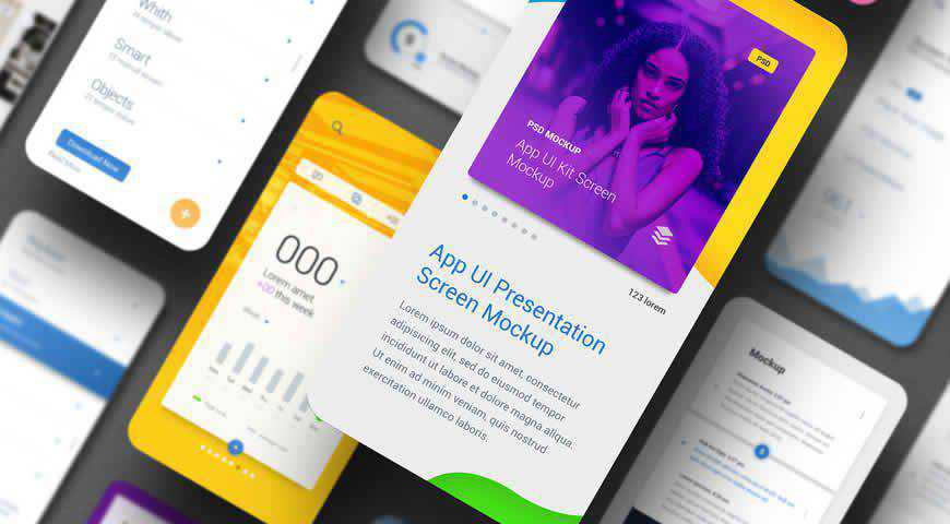 App UI Screen Presentation Photoshop PSD Mockup Template