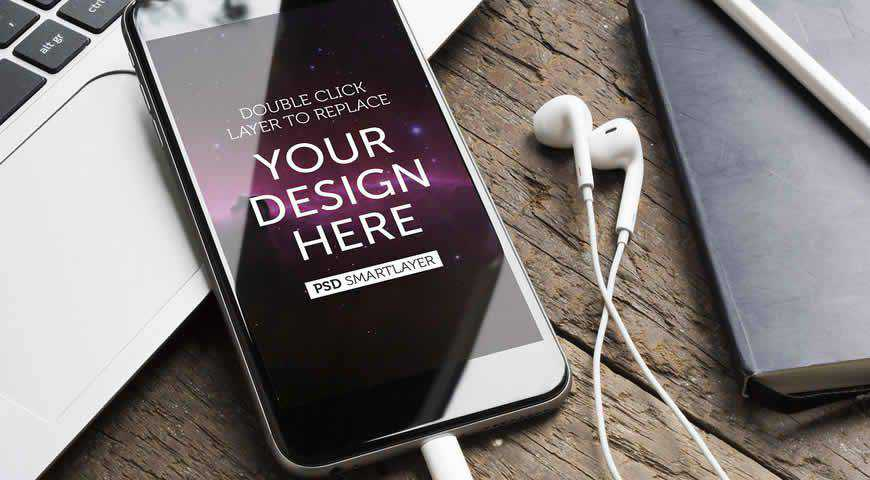 Smartphone with Headphones Photoshop PSD Mockup Template