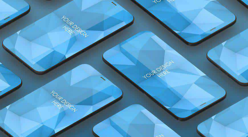 Smartphones on Blue Background Photoshop PSD Mockup Template