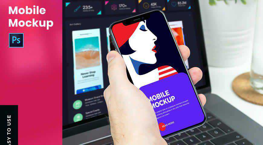 Mobile With Hand Photoshop PSD Mockup Template