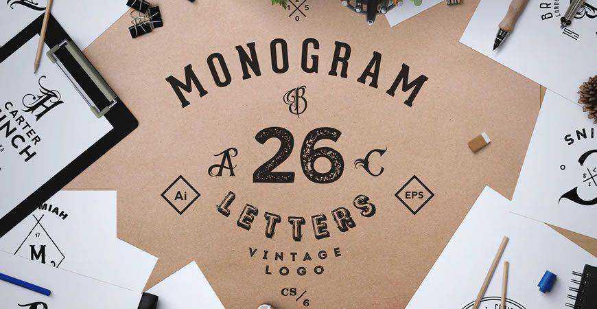 Monogram ABC Vintage Logo Template