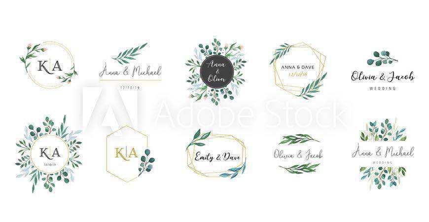Monogram Hand-Drawn Wedding Logo Template