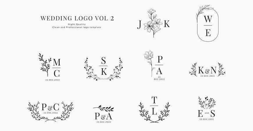 Monogram Wedding Logo Templates