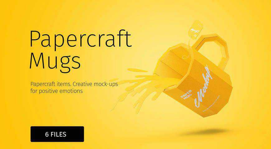 Papercraft Mugs Photoshop PSD Mockup Template