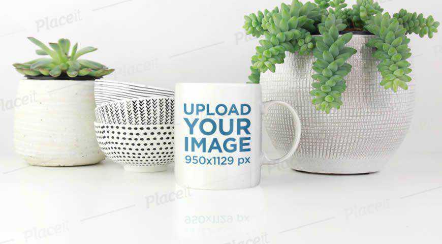 Coffee Mug & Plants Photoshop PSD Mockup Template