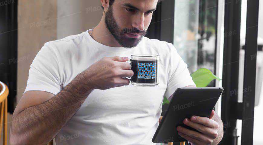 Man Drinking Coffee From a Glass Mug Photoshop PSD Mockup Template