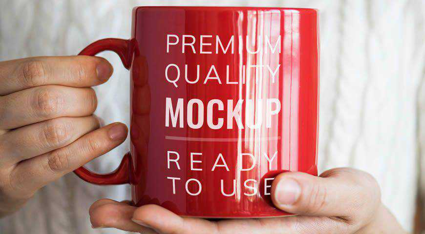 Person Holding Red Mug Photoshop PSD Mockup Template