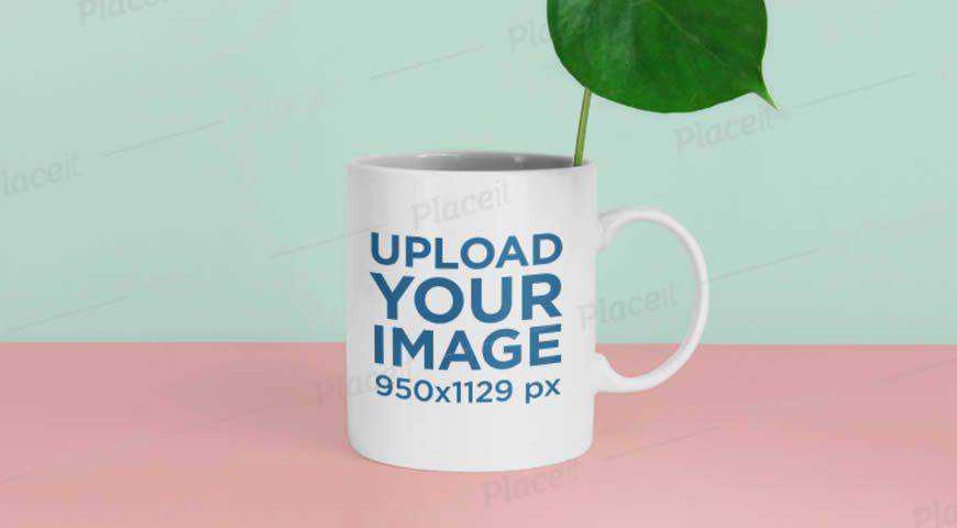 Coffee Mug and Plant Photoshop PSD Mockup Template