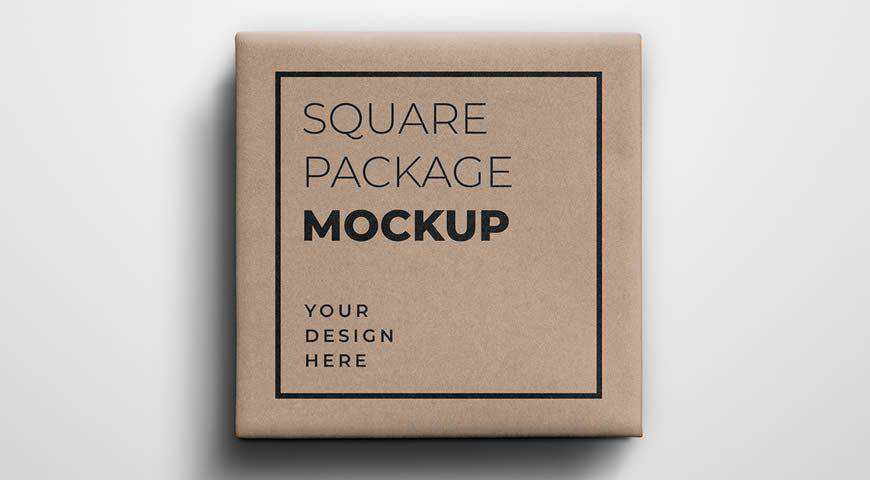 Square Gift Package Photoshop PSD Mockup Template