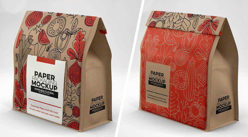 Paper Bag with Clip Seal Photoshop PSD Mockup Template