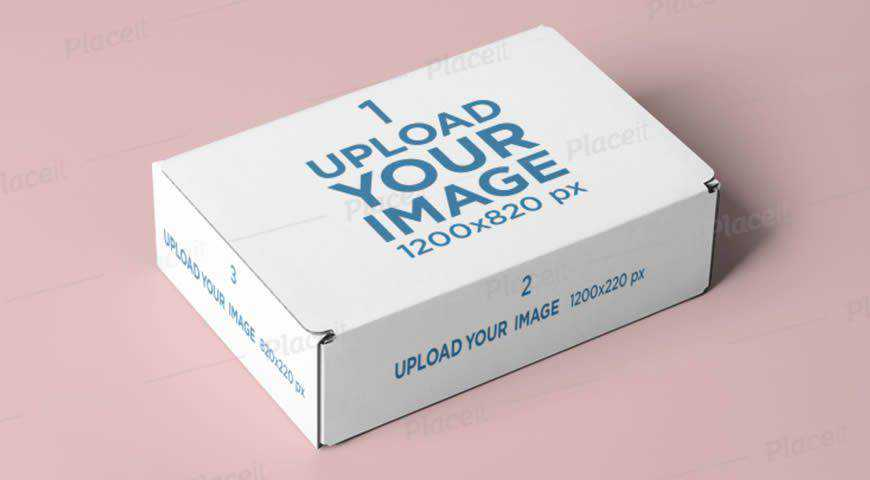 Mailing Box Mockup Featuring a Solid Color Backdrop Photoshop PSD Mockup Template