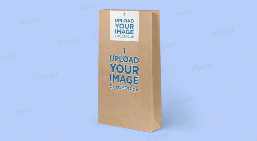 Paper Bag Mockup Featuring a Solid-Color Background Photoshop PSD Mockup Template