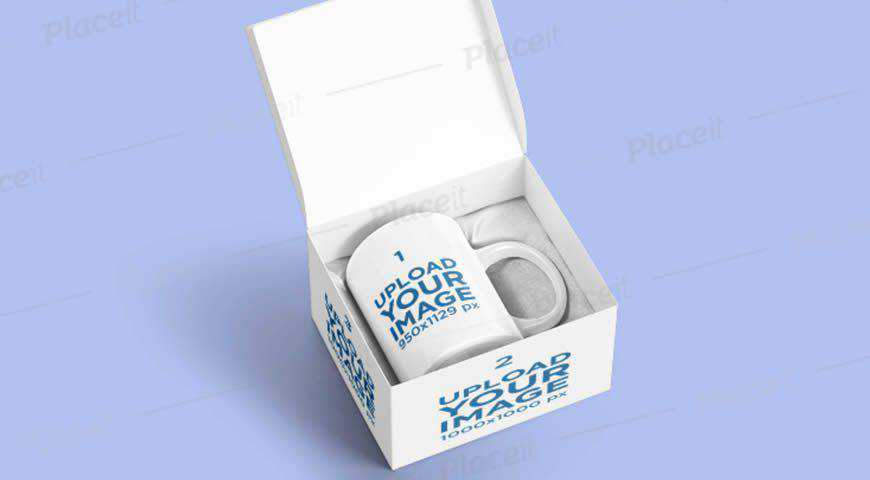 Coffee Mug on a Customizable Box Photoshop PSD Mockup Template