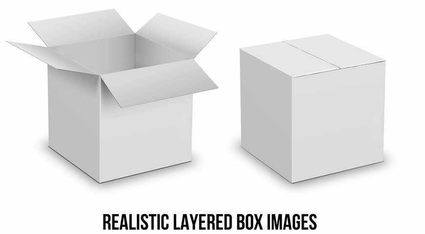 Carboard Box Photoshop PSD Mockup Template